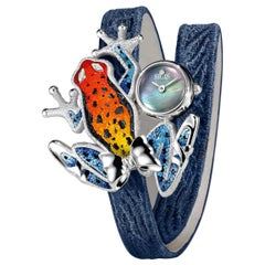 Stylish Watch White Gold White Diamond Quilted Jeans Strap Decorated Micromosaic