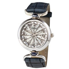 Stylish Watch White Gold White Diamond Sapphires Alligator Strap MicroMosaic