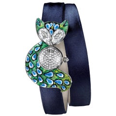 Stylish Watch White Gold White Diamond Satin Strap Hand Decorated Micro Mosaic