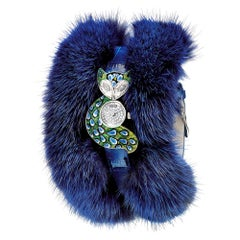 Stylish Watch White Gold White Diamonds Alligator and Fur Strap MicroMosaic