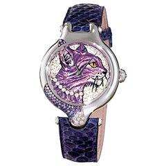 Stylish Watch White Gold White Diamonds Sapphires Python Strap Micro Mosaic