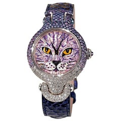 Stylish Watch White Gold White Diamonds Sapphires Python Strap Micro Mosaic