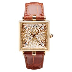 Stylish Watch Yellow Gold White Diamond Alligator Strap Decorated Micro Mosaic