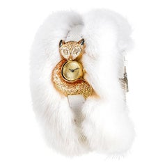Stylish Watch Yellow Gold White Diamond Python & Fur Strap Decorated MicroMosaic