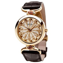 Stylish Watch Yellow Gold White Diamond Quartz Alligator Strap Micro Mosaic
