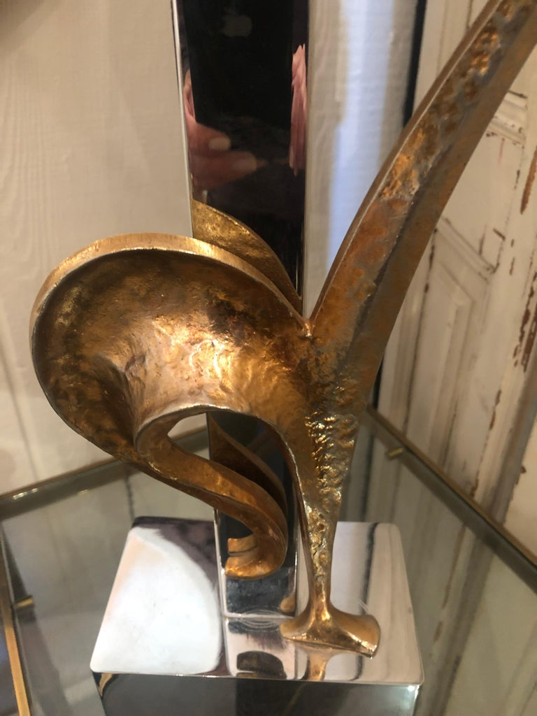 Stylish & Whimsical Mid-Century Modern French Rooster Lamp in Brass & Chrome For Sale 5
