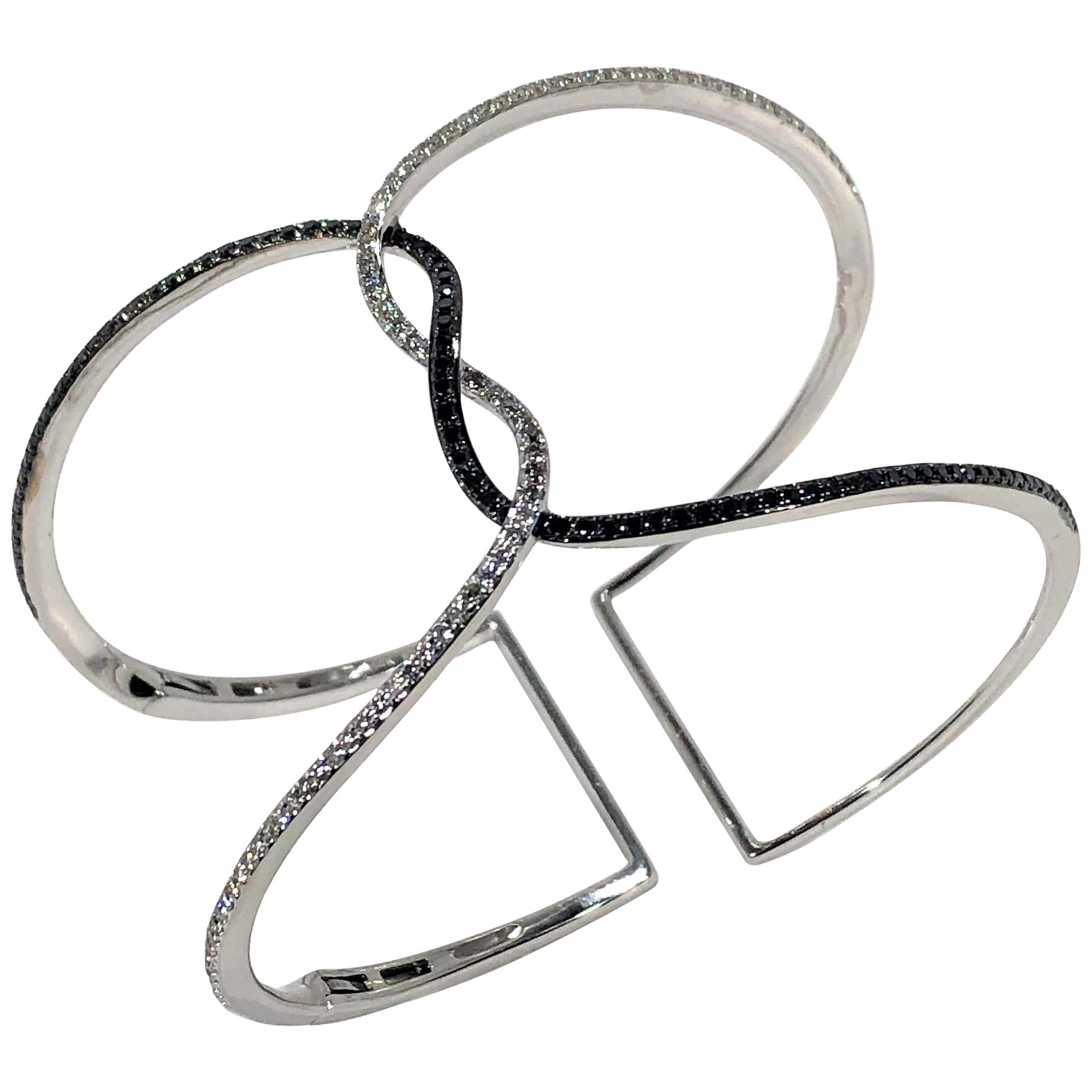 Stylish White Gold Black and White Diamond Cuff by Designer Effy
