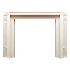 Stylish White Statuary Marble Fireplace of Early 20th Century Form