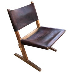 Stylish Wood and Leather Cantilevered Chair
