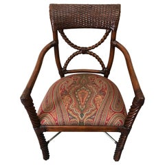 Stylish Wood and Rattan Armchair with Paisley Upholstery