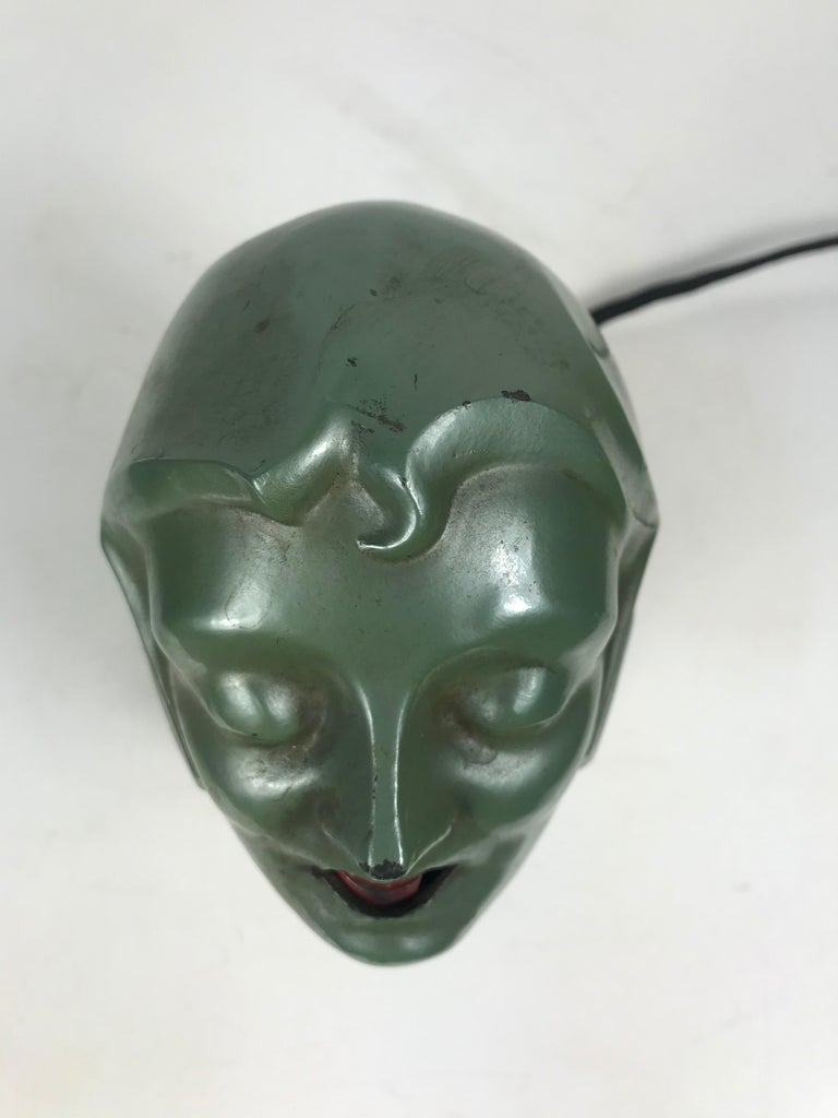 Stylized 1930s Art Deco Women's Head Electric Cigarette Lighter by Arturo Levi In Good Condition For Sale In Buffalo, NY