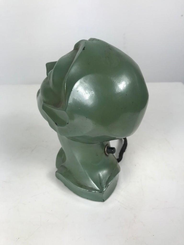 Metal Stylized 1930s Art Deco Women's Head Electric Cigarette Lighter by Arturo Levi For Sale