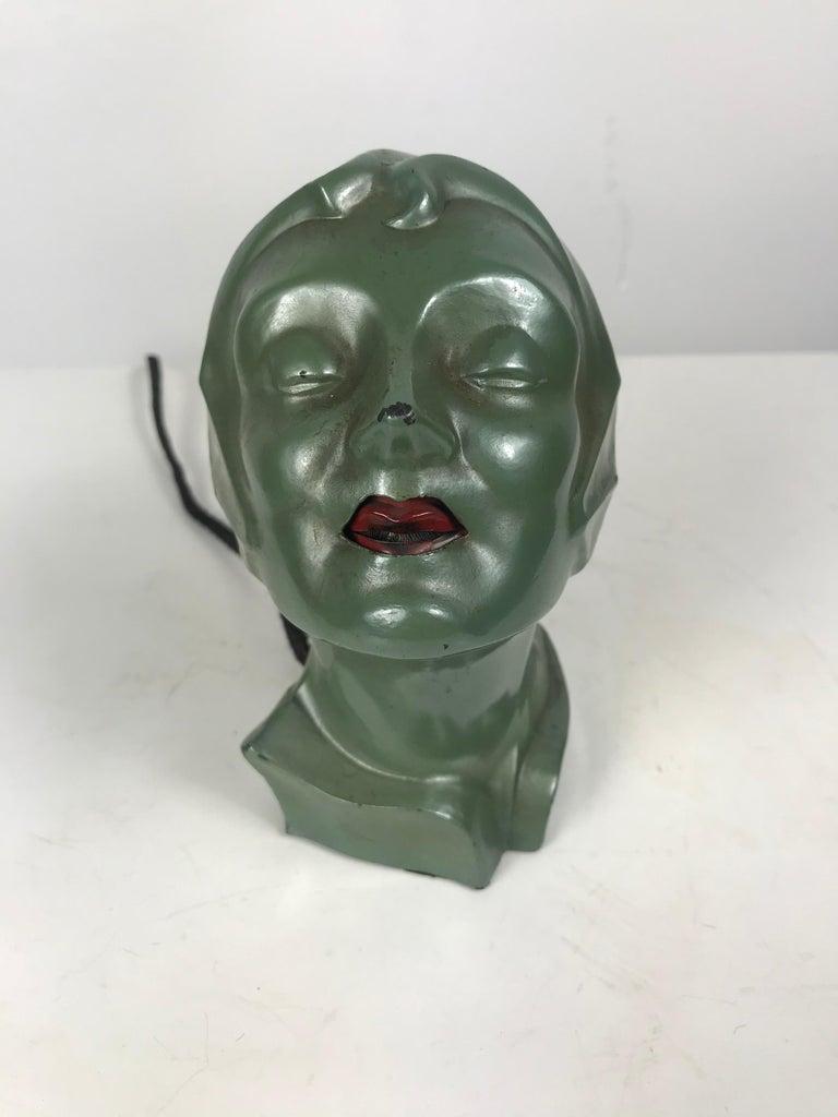 Stylized 1930s Art Deco Women's Head Electric Cigarette Lighter by Arturo Levi For Sale 1