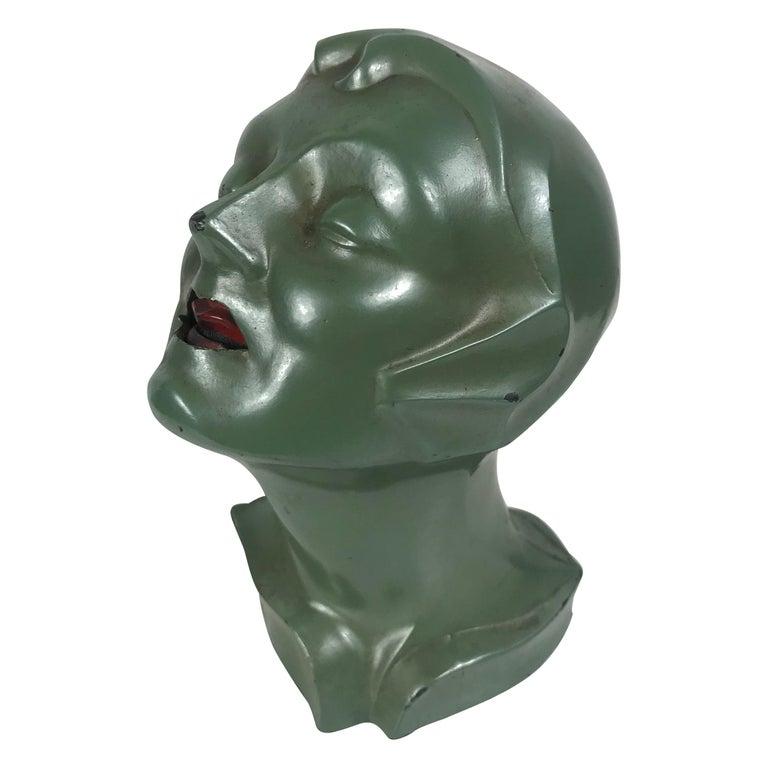 Stylized 1930s Art Deco Women's Head Electric Cigarette Lighter by Arturo Levi For Sale