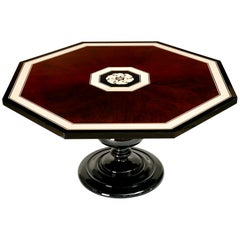 Stylized 1940s Lacquered Italian Inlay Octagonal Table