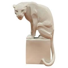 Stylized Art Deco Porcelain Panther Model 1630 Sculpture by Franz Barwig