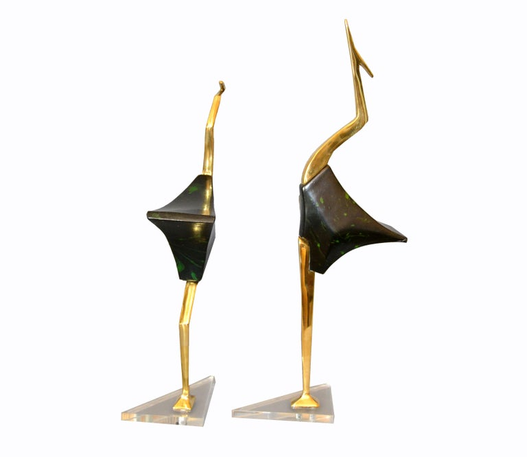 Stylized Brass And Wood Crane Sculptures On Lucite Base A