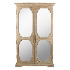 Stylized Cerused Oak Mirrored Armoire