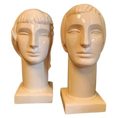 """Stylized Heads,"" Rare Pair of High Style Male and Female Art Deco Sculptures"