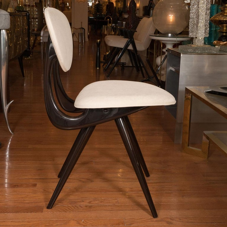 Mid-Century Modern Stylized Lacquered Wood Chairs For Sale