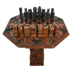 Stylized Modernist Aztec Hardwood Carved Chess Set, South America, Teki