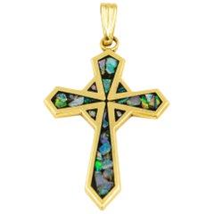 Stylized Mosaic Opal Inlaid Yellow Gold Cross