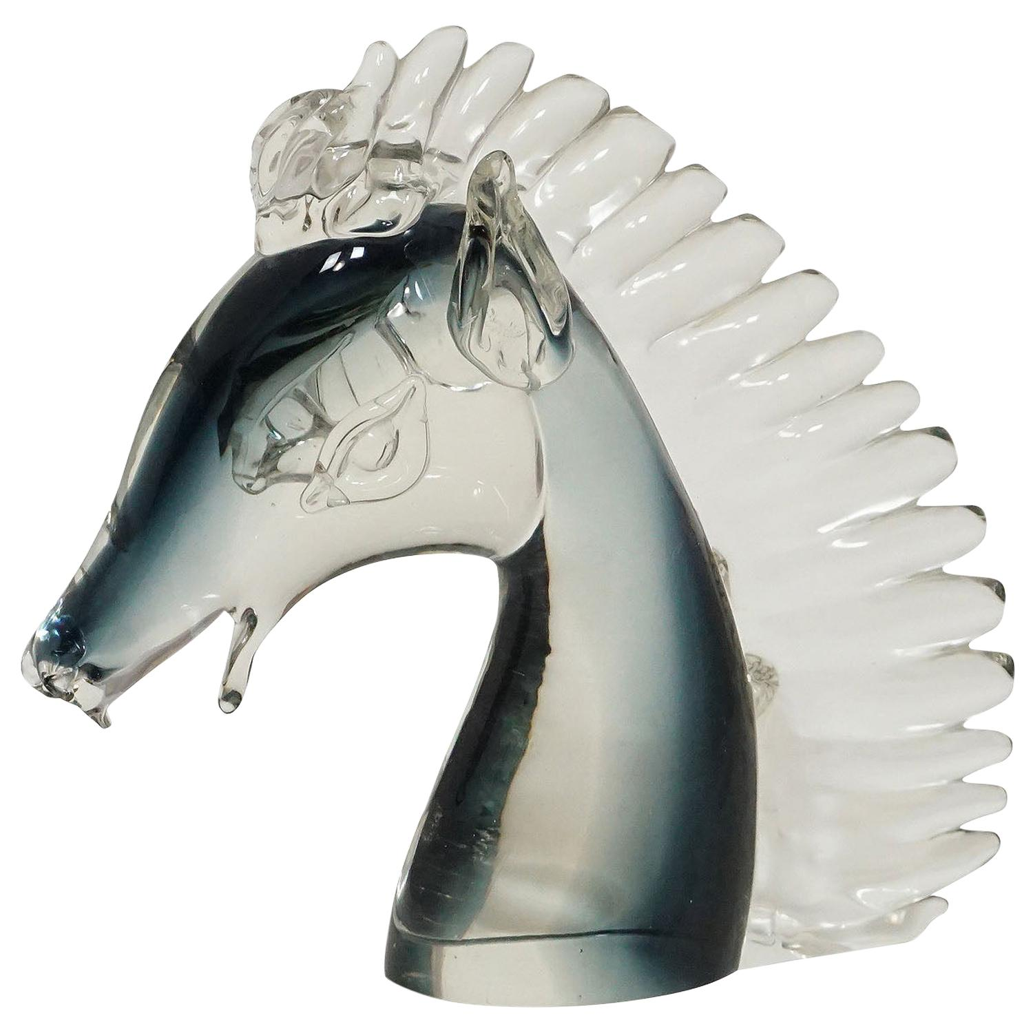 Stylized Murano Horse Head Sculpture in Sommerso Glass