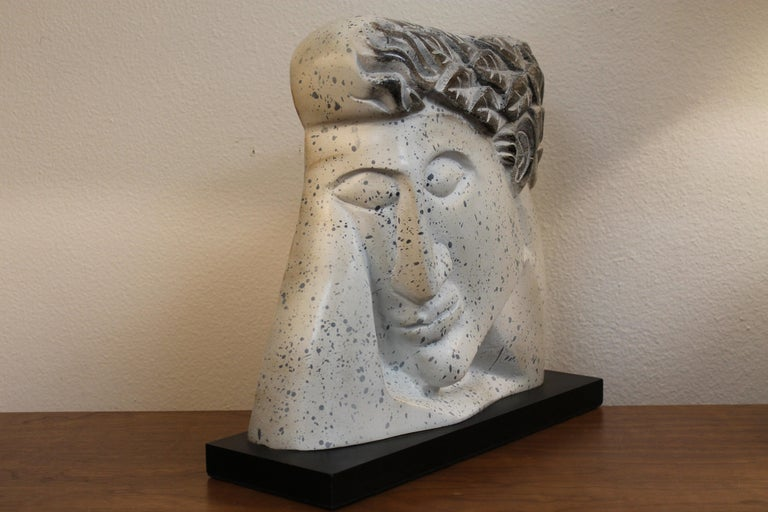Mid-Century Modern Stylized Plaster Head on Stand For Sale