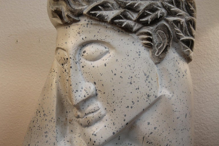 American Stylized Plaster Head on Stand For Sale