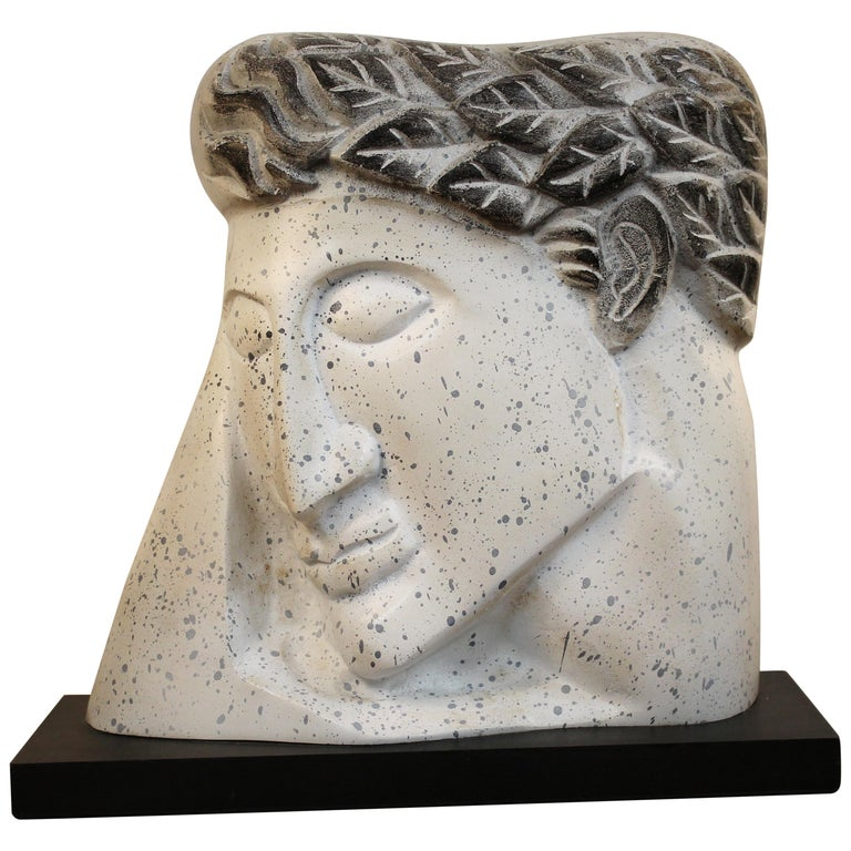 Stylized Plaster Head on Stand For Sale