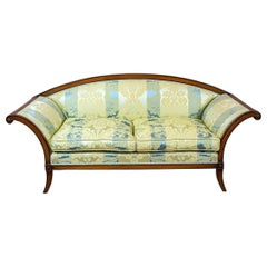Stylized Walnut Sofa from the Early 20th Century with New Upholstery