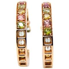 Suarez 18kt Gold Turmaline and Peridot Earrings