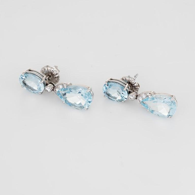 Modern Suarez Aquamarine Diamond Drop Earrings Estate 18 Karat White Gold Fine Jewelry For Sale