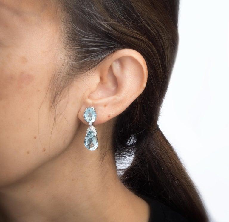 Pear Cut Suarez Aquamarine Diamond Drop Earrings Estate 18 Karat White Gold Fine Jewelry For Sale