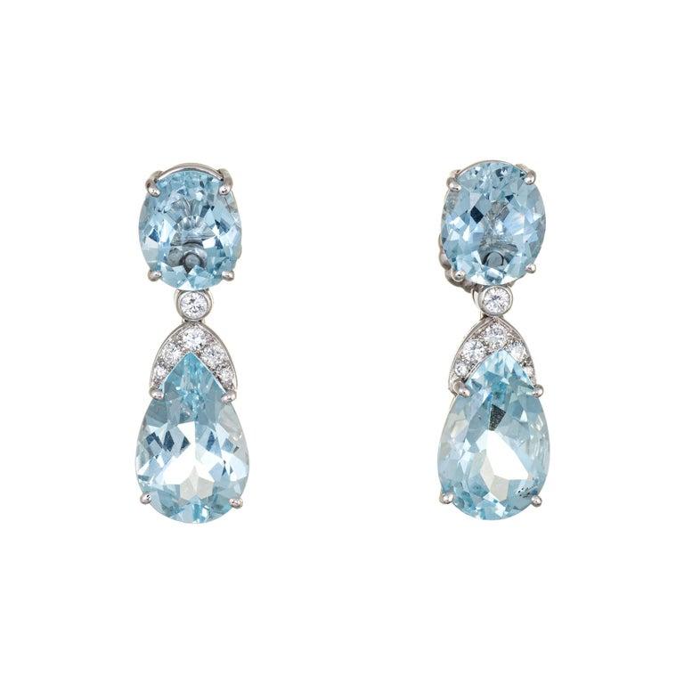 Suarez Aquamarine Diamond Drop Earrings Estate 18 Karat White Gold Fine Jewelry For Sale