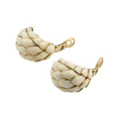 Suárez Retro 18 Karat Gold Enamel Earrings