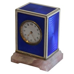 Sub Miniature Carriage Clock in Silver Gilt, Enamel and Rose Quartz