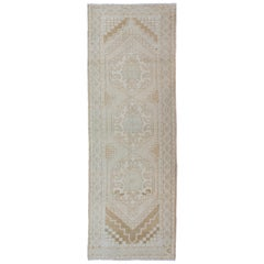 Subdued Vintage Turkish Oushak Runner with Medallions
