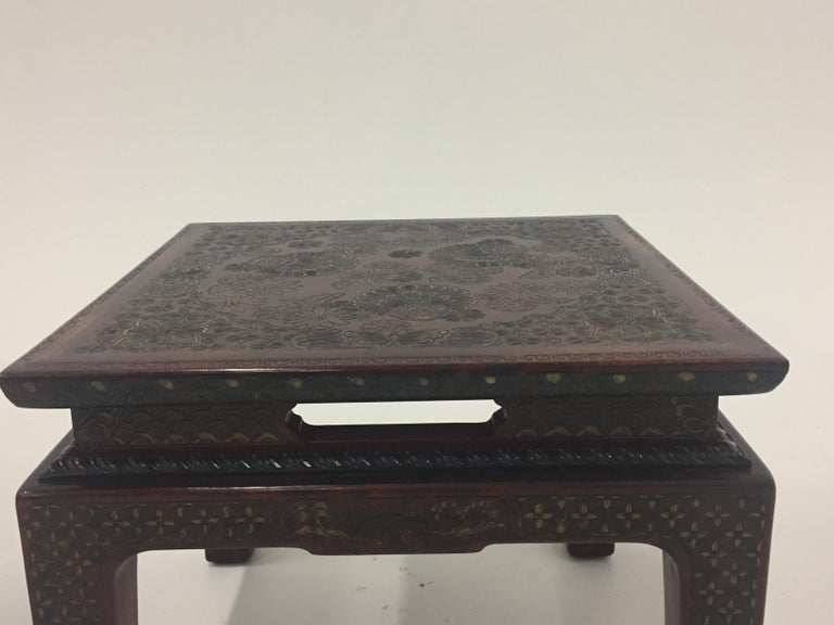 Superbly Rich Pair of Square Asian Style John Widdicomb End Side Tables For Sale 1