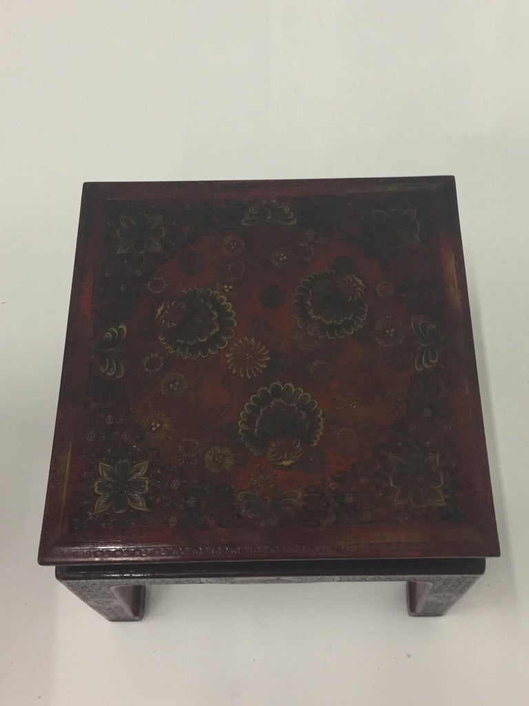 Superbly Rich Pair of Square Asian Style John Widdicomb End Side Tables For Sale 4