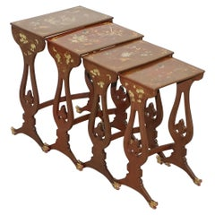 Sublim Nest of 4 circa 1880 Chinese Export Brown Lacqurered Tables Hand Painted