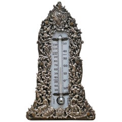 Sublime 1888 Sterling Silver Repousse Barometer Cherubs Angels Grape Vines