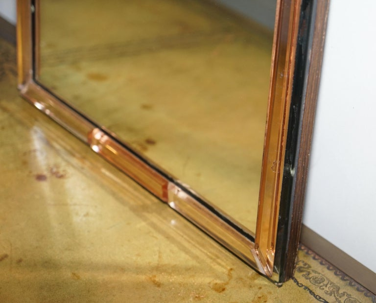 Sublime 1930s Art Deco Peach Glass Beveled Venetian Curved Steeple Top Mirror For Sale 4