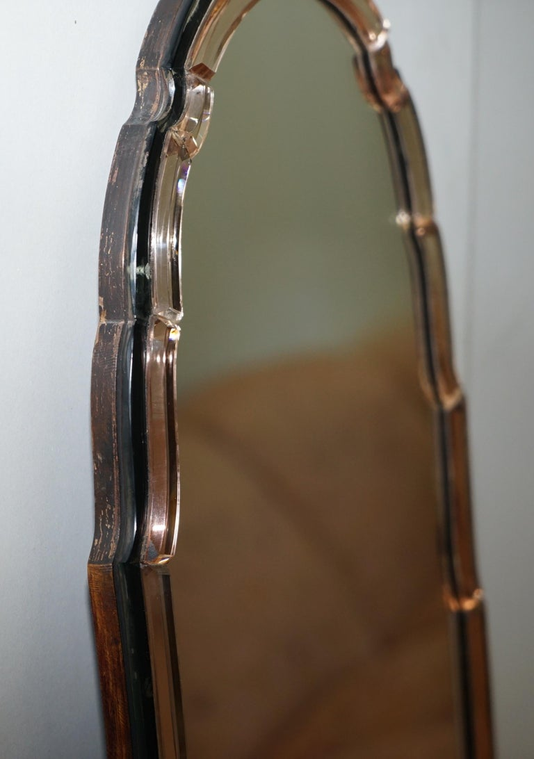 Sublime 1930s Art Deco Peach Glass Beveled Venetian Curved Steeple Top Mirror For Sale 1