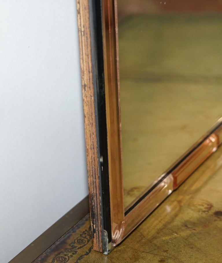 Sublime 1930s Art Deco Peach Glass Beveled Venetian Curved Steeple Top Mirror For Sale 2