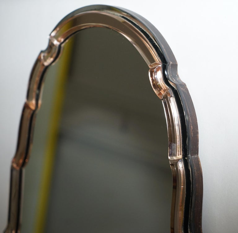Sublime 1930s Art Deco Peach Glass Beveled Venetian Curved Steeple Top Mirror For Sale 3