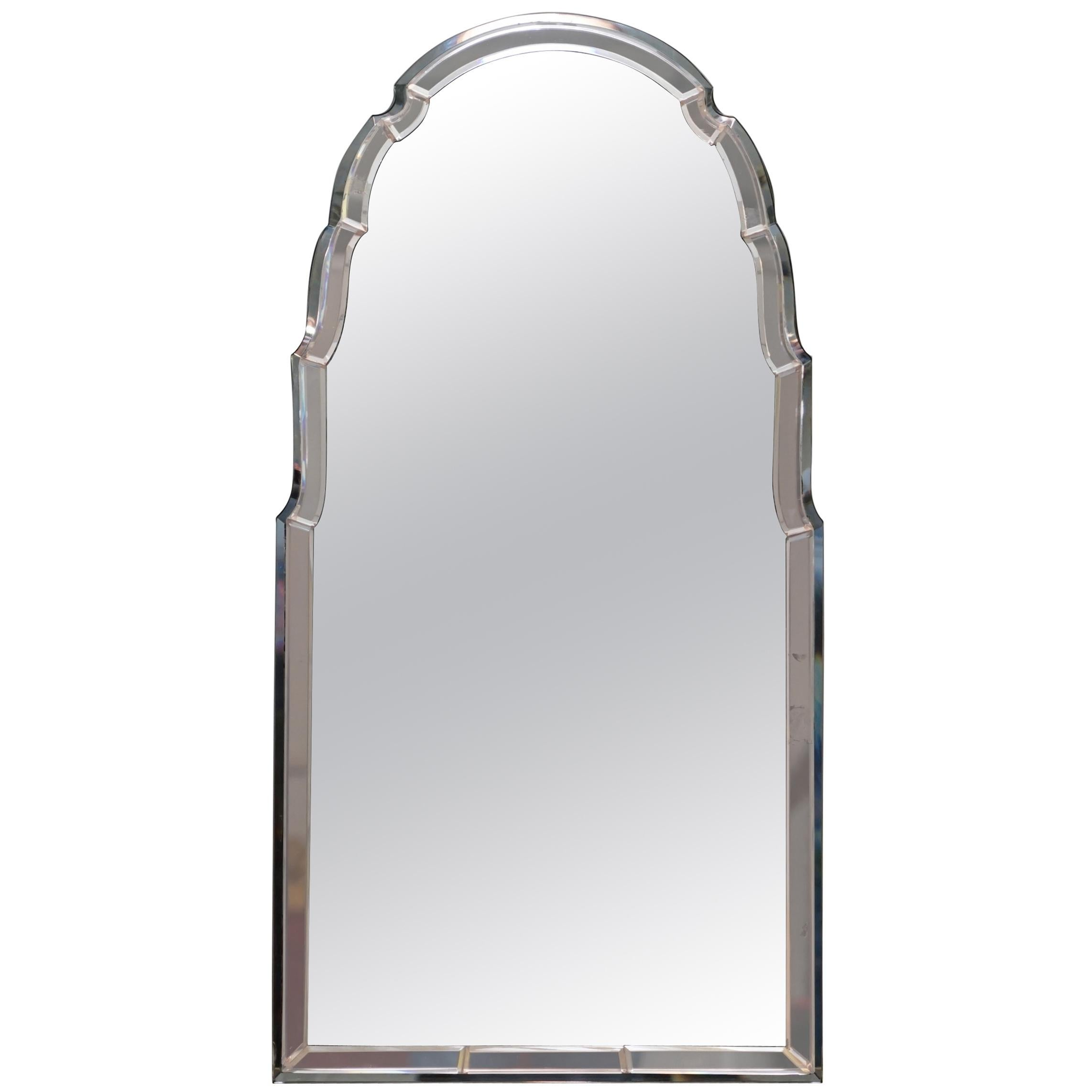 Sublime 1930s Art Deco Peach Glass Beveled Venetian Curved Steeple Top Mirror