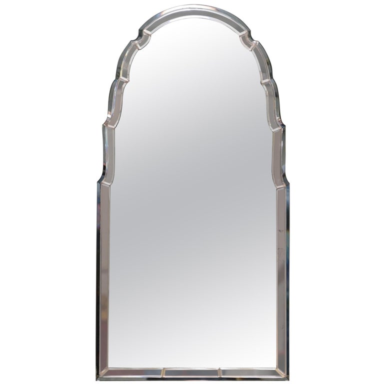 Sublime 1930s Art Deco Peach Glass Beveled Venetian Curved Steeple Top Mirror For Sale