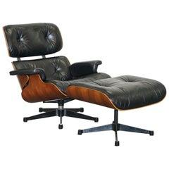 Sublime 1986 Charles & Ray Eames Vitra Hardwood Leather Lounge Armchair Ottoman