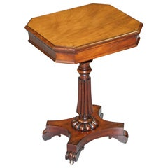Sublime Antique William IV circa 1830 Flamed Hardwood Single Drawer Side Table